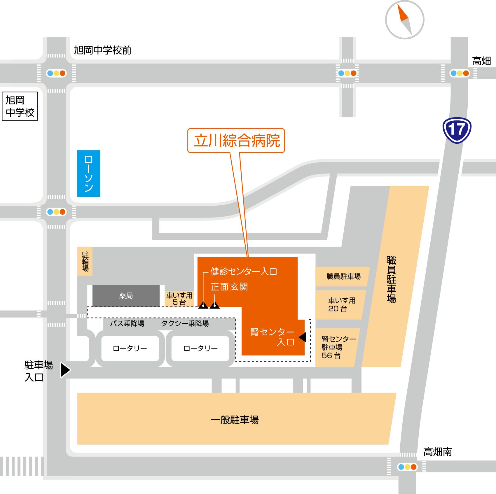 立川綜合病院 駐車場地図
